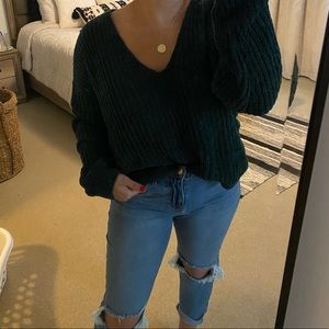 Express chenille vneck sweater